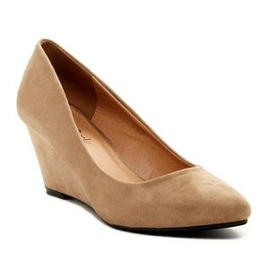 Shoes - Size 10 Suede Round Toe Wedge in Taupe or Olive